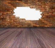 Porös vägg och trägolv för bakgrund Arkivfoto