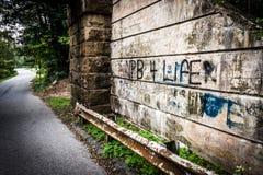 Poręczówka i graffiti na ścianie pod mostem blisko wiosny Gro, Zdjęcia Stock