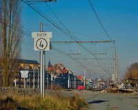 Poręcze bez pociągów, wejścia Ghent pociągiem, miasta i krajobrazu, Fotografia Stock