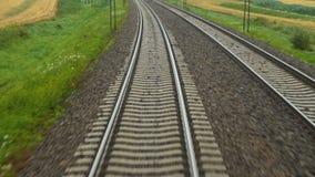 Poręcze działający pociąg daleko od zbiory