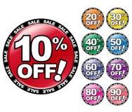 Por cento coloridos FORA dos ícones Foto de Stock