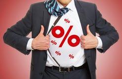 Por cento como o símbolo para o disconto Imagens de Stock Royalty Free