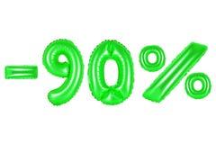 90 por cento, cor verde Foto de Stock Royalty Free