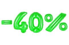 40 por cento, cor verde Foto de Stock Royalty Free