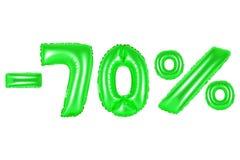 70 por cento, cor verde Fotografia de Stock