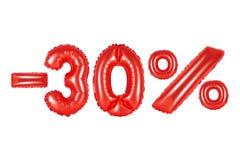 30 por cento, cor vermelha Fotografia de Stock