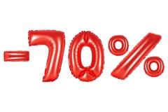 70 por cento, cor vermelha Fotos de Stock
