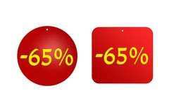 65 por cento das etiquetas vermelhas em um fundo branco discontos e vendas, feriados Imagem de Stock