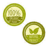 100 por cento de alimento biológico e o produto natural com folha assinam Fotografia de Stock Royalty Free