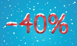 40 por cento de números do disconto com neve e sincelos Reta nevando Imagens de Stock