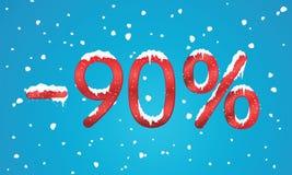 90 por cento de números do disconto com neve e sincelos Reta nevando Foto de Stock