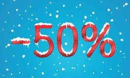 50 por cento de números do disconto com neve e sincelos Reta nevando Fotografia de Stock