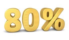 80 por cento de ouro do símbolo 3d ilustração stock