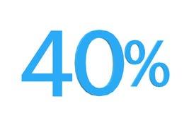 40 por cento de texto do disconto 3d no fundo branco ilustração royalty free