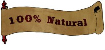 100 POR CENTO de texto NATURAL na ilustração velha do desenho do papel do rolo Foto de Stock Royalty Free