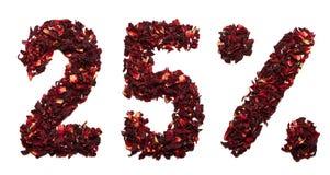 25 por cento do chá do hibiscus em um fundo branco isolado Imagens de Stock