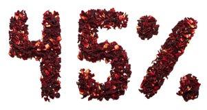 45 por cento do chá do hibiscus em um fundo branco isolado Fotos de Stock Royalty Free