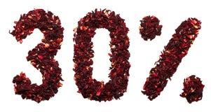 30 por cento do chá do hibiscus em um fundo branco isolado Foto de Stock Royalty Free