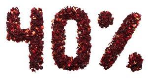 40 por cento do chá do hibiscus em um fundo branco isolado Fotos de Stock Royalty Free
