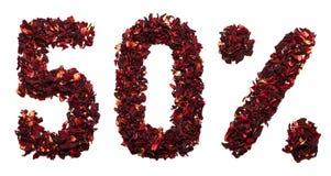 50 por cento do chá do hibiscus em um fundo branco isolado Fotografia de Stock Royalty Free