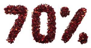 70 por cento do chá do hibiscus em um fundo branco isolado Foto de Stock Royalty Free