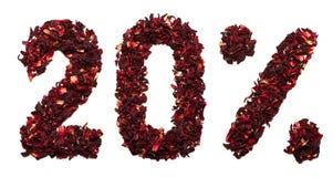 20 por cento do chá do hibiscus em um fundo branco isolado Fotos de Stock Royalty Free