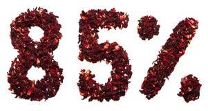 85 por cento do chá do hibiscus em um fundo branco isolado Fotos de Stock
