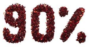90 por cento do chá do hibiscus em um fundo branco isolado Fotografia de Stock Royalty Free