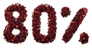 80 por cento do chá do hibiscus em um fundo branco isolado Fotos de Stock