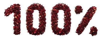 100 por cento do chá do hibiscus em um fundo branco isolado Imagem de Stock