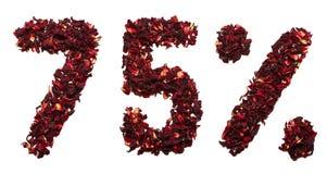 75 por cento do chá do hibiscus em um fundo branco isolado Fotos de Stock