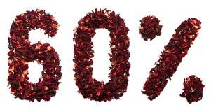 60 por cento do chá do hibiscus em um fundo branco isolado Foto de Stock Royalty Free