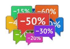 Por cento do disconto em bolhas do discurso Imagens de Stock Royalty Free