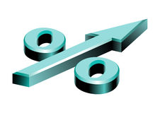 Por cento do símbolo sob a forma da seta Fotografia de Stock Royalty Free