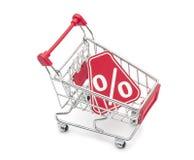 Por cento do trole da compra Imagens de Stock