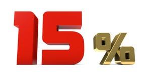 por cento do vermelho de 15% e o texto do ouro isolado no branco Fotografia de Stock Royalty Free