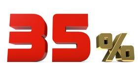 por cento do vermelho de 35% e o texto do ouro isolado no branco Imagens de Stock