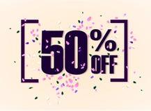 50 por cento fora da etiqueta da promoção do disconto Etiqueta da venda do Promo o vetor alarga-se no fundo branco Ilustração do  ilustração royalty free