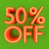 50 por cento fora da ilustração alaranjada do verde 3D do disconto da oferta da venda Fotos de Stock
