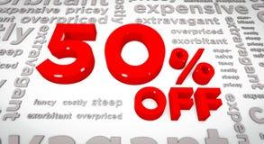 50 por cento fora da ilustração 3D Ilustração Stock