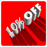 10 por cento fora das letras 3d brancas Fotografia de Stock Royalty Free