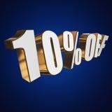 10 por cento fora das letras 3d no fundo azul Foto de Stock Royalty Free