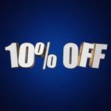 10 por cento fora das letras 3d no fundo azul Fotos de Stock