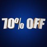70 por cento fora das letras 3d no fundo azul Fotografia de Stock Royalty Free