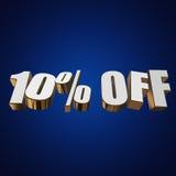 10 por cento fora das letras 3d no fundo azul Fotos de Stock Royalty Free