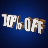 70 por cento fora das letras 3d no fundo azul Foto de Stock