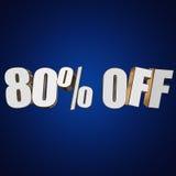 80 por cento fora das letras 3d no fundo azul Foto de Stock Royalty Free