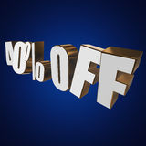 40 por cento fora das letras 3d no fundo azul ilustração do vetor