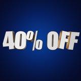 40 por cento fora das letras 3d no fundo azul Fotografia de Stock