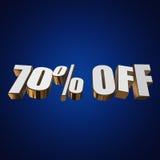 70 por cento fora das letras 3d no fundo azul Fotografia de Stock